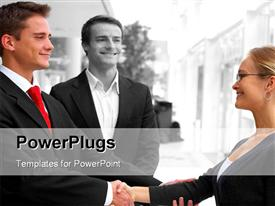 PowerPoint template displaying joined in business in the background.