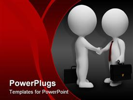 PowerPoint template displaying animated depiction of two humans shaking hands with briefcases