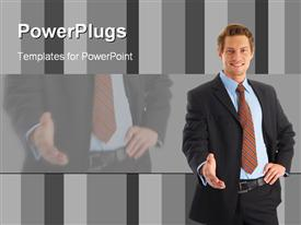 PowerPoint template displaying successful Businessman in the background.