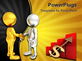 Three dimensional render of two cartoon human figures shaking hands template for powerpoint