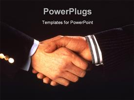 PowerPoint template displaying a professional handshake with blackish background