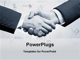 Two business persons are shaking hand for business deal powerpoint template