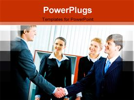 PowerPoint template displaying four corporately dressed business people shaking hands in an office