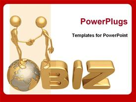 PowerPoint template displaying two golden models shaking hands for business proposal in the background.
