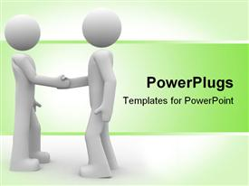 PowerPoint template displaying two little characters shaking hands in the background.