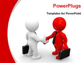 PowerPoint template displaying two models shaking hands for business deal in the background.