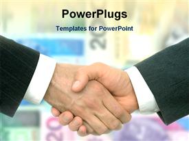 PowerPoint template displaying a professional handshake and blurred background