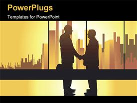 Well-known business concept partners on the urban background with golden light powerpoint theme