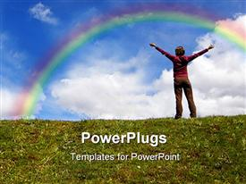 PowerPoint template displaying girl arms open standing on grass with blue sky in the background.