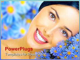 Happy young smiling woman with blue flowers template for powerpoint