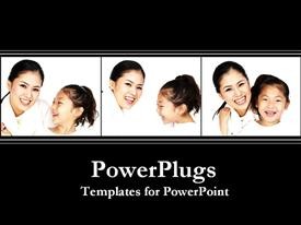 PowerPoint template displaying three white tiles with a lady and her daughter smiling happily
