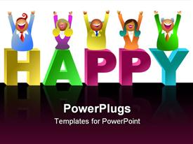 PowerPoint template displaying happy business team - icon people series