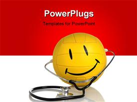 PowerPoint template displaying a happy figure with a stethoscope and reddish background