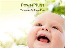PowerPoint template displaying close up view of a cute smiling baby on a blurry background