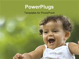 PowerPoint template displaying happy toddler in a tropical garden setting
