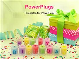 PowerPoint template displaying birthday candles in the background.