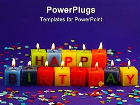 PowerPoint template displaying colorful burning happy birthday candles on lilac background