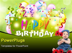 Happy Birthday Background With Origami And Bokeh powerpoint design layout