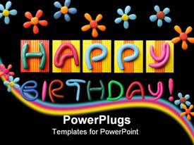 Happy Birthday phrase made from plasticine template for powerpoint