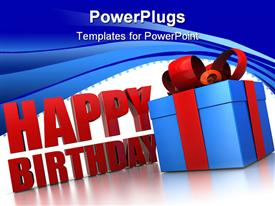 PowerPoint template displaying happy birthday sign next to blue wrapped gift box