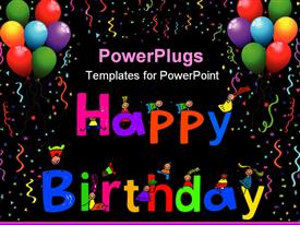 Happy Birthday text message with little kids climbing over the letters powerpoint template
