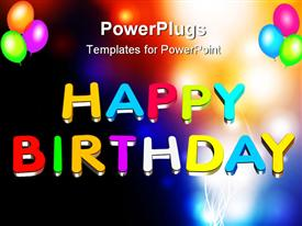 Illustration colorful 3D Happy birthday text powerpoint template