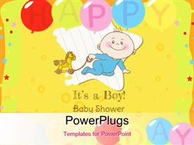 Baby Boy Shower and Arrival Card - with place for your text powerpoint design layout