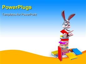 Cute Easter bunny sitting On a large books Stack powerpoint theme