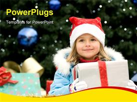 PowerPoint template displaying happy Christmas time - portrait of cute girl in Christmas sledge