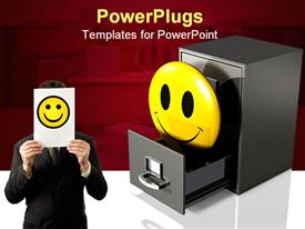 Large yellow smiley face protruding out of an open drawer powerpoint template