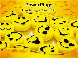 PowerPoint template displaying variation of yellow smiley faces yellow background