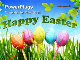 Colorful Easter eggs on a white background powerpoint theme