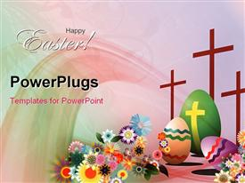 Easter day symbols background. Eggs, crosses and flowers powerpoint template