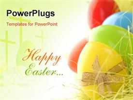 PowerPoint template displaying red and green Happy Easter next to brightly colored eggs
