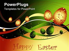Happy Easter background with eggs and lines powerpoint design layout