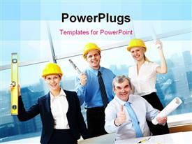 Four happy workers holding papers and rejoicing powerpoint theme