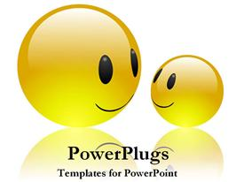 Two smiling emoticons powerpoint template