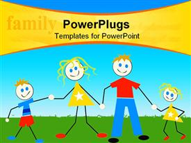 PowerPoint template displaying a family of four cartoon characters on a green field
