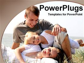 PowerPoint template displaying family having fun together in the background.