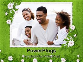 PowerPoint template displaying happy African-American family with two children on beach in the background.