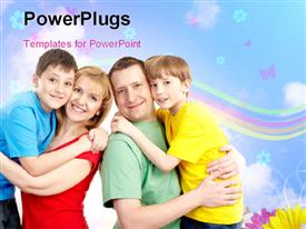 PowerPoint template displaying happy family concept, parents with their two children with nice nature depiction in the background
