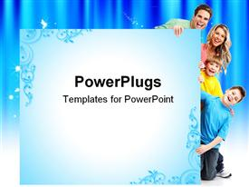 PowerPoint template displaying happy family. Father mother and children in the background.