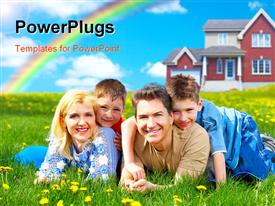 Happy family. Father mother and sons on the green grass powerpoint theme