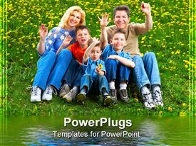 PowerPoint template displaying a family of five smiling happily and sitting on grass