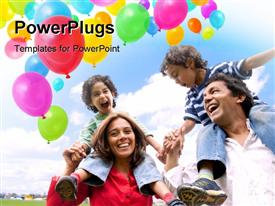 PowerPoint template displaying happy family withColored balloons in air withblue cloudy sky