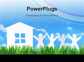 House and people of paper on sky background presentation background