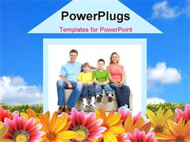 Young family in the new home. Real estate concept template for powerpoint