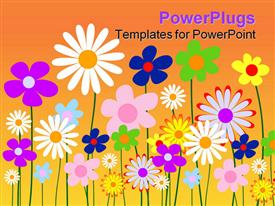 PowerPoint template displaying abstract two dimensional design of colored flowers growing together on shades of orange