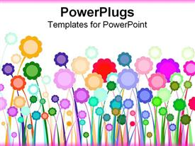 PowerPoint template displaying graphic flowers colorfully arranged over white