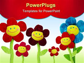 PowerPoint template displaying group of smiling flowers